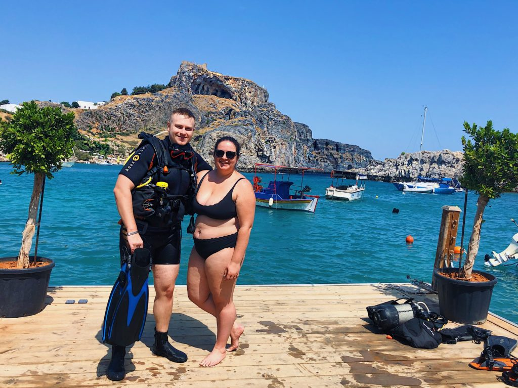 scuba diving, san paulos bay, greece, rhodes, couple, bikini, scuba