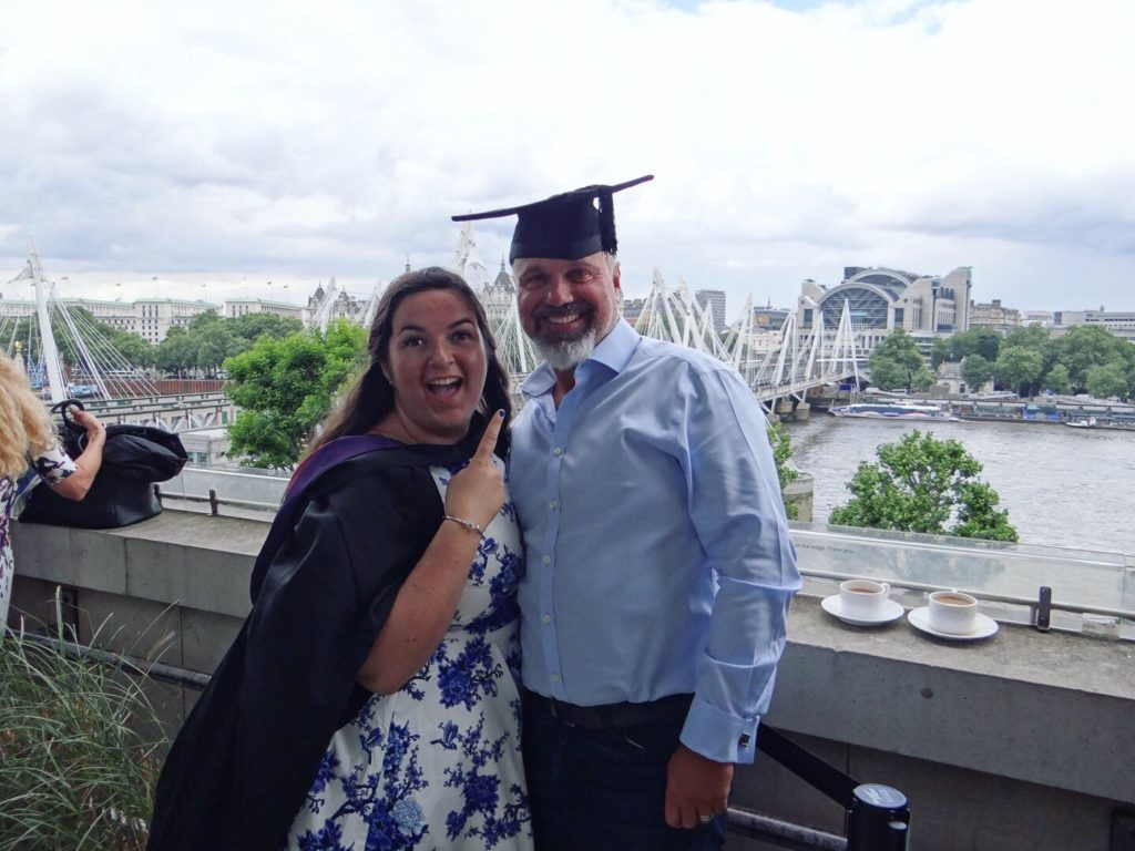 graduation, family, dad, father, pops, daddy, university, gown, london, river