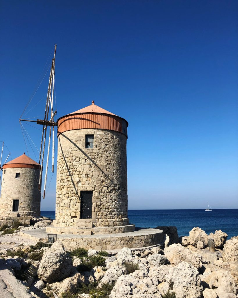 windmill, old town, rhodes, greece, history