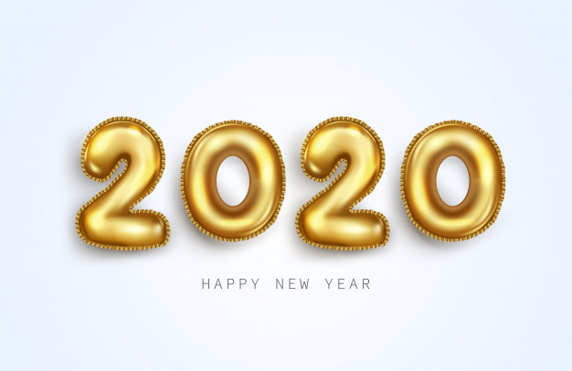 balloon, 2020, new year, numbers, gold foil, gold