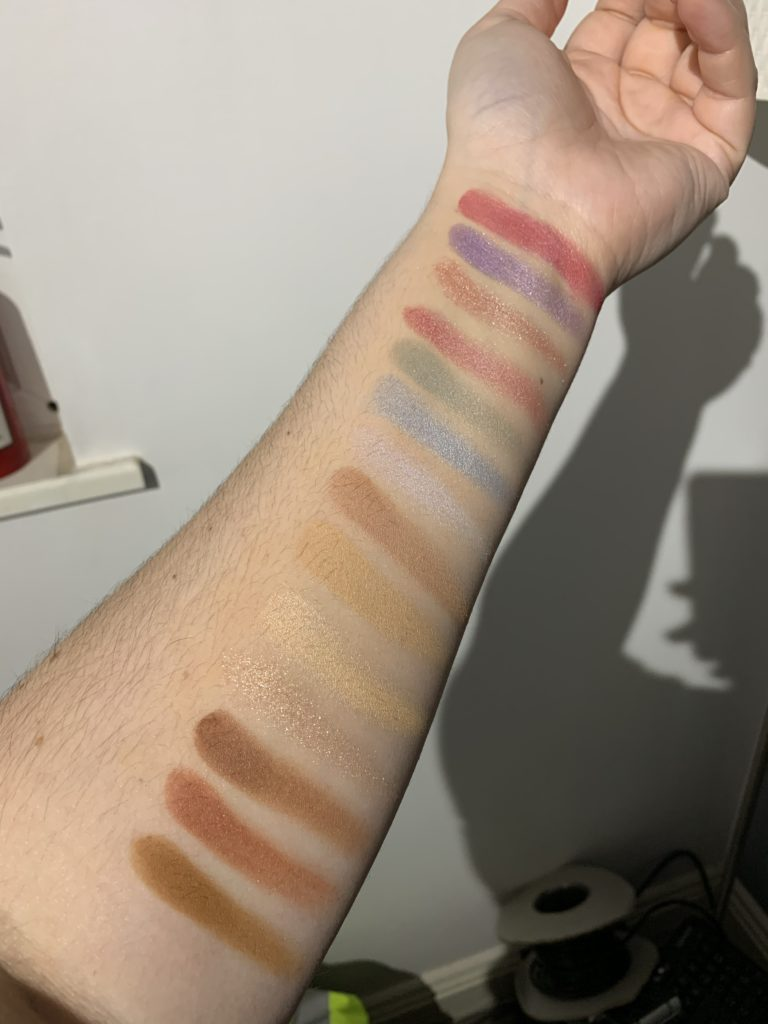 make-up, swipes, swatches, eyeshadow, arm, pink, blue, neutrals